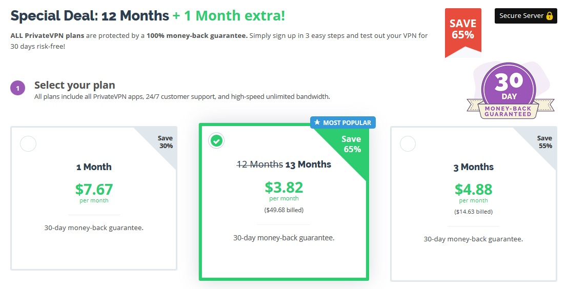 PrivateVPN discounted pricing plans